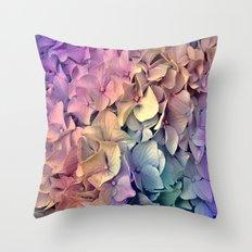 Soft Multi Color Hydrangea Throw Pillow