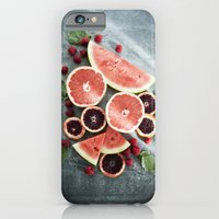 iPhone & iPod Case featuring Refreshing - Pink Citrus Fruit Salad - Summer Fruit  by Jean Ladzinski