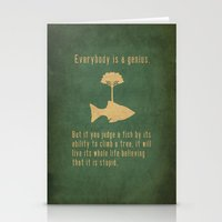 fish Stationery Cards featuring Einstein by Tracie Andrews