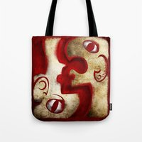 Red Digital Engraving Twin Faces Tote Bag