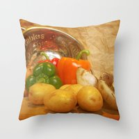 Cascading Vegetables Throw Pillow
