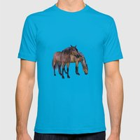 Horses In A Misty Dawn Mens Fitted Tee Teal SMALL