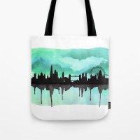 Mint Green London Skyline 2 Tote Bag