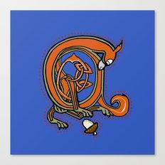Medieval Blue Squirrel letter A Canvas Print