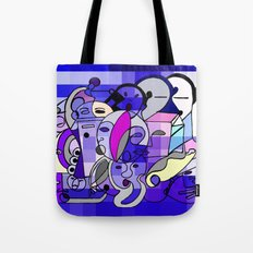 Blue White Commotion Tote Bag