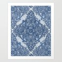 Denim Blue Lace Pencil Doodle Art Print