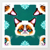 Grumpy Cat Geometric Pat… Art Print