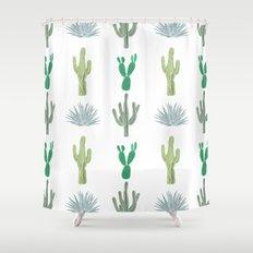 Cactus World Illustration Shower Curtain
