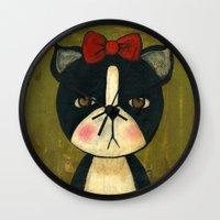 Portrait Of A Boston Terrier Dog Wall Clock