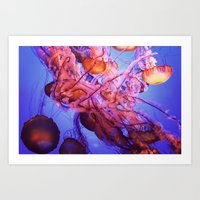 jellyfish Art Prints featuring Jellyfish by Randy Aquilizan