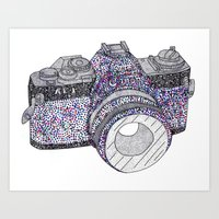 camera Art Prints featuring camera by smurfmonster