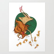 Girl and fish Art Print