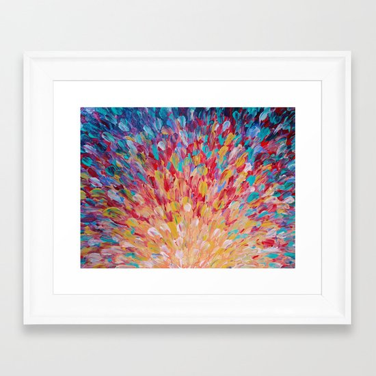 SPLASH - WOW Dash of Cheerful Color, Bold Water Waves Theme, Nature Lovers Modern Abstract Decor Framed Art Print