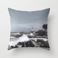Throw Pillow featuring The Wild Sea by UtArt