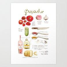 illustrated recipes: gazpacho Art Print