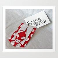 Love You - Origami Art Print