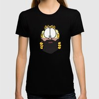 Garfield Cat Beard Womens Fitted Tee Black SMALL