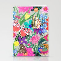 Butterflies and Moths Pattern - Grey Stationery Cards