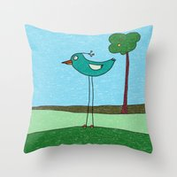 Tall Bird And A Tree Throw Pillow