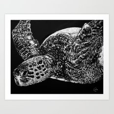 Beneath the Waves the Sea Turtle Swims Art Print