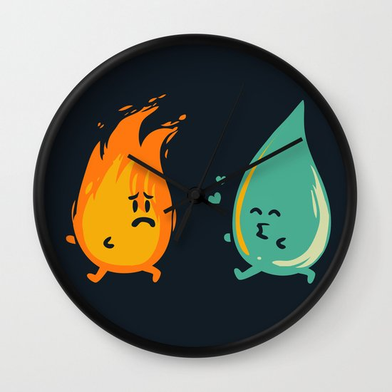 Impossible Love (fire and water kiss) Wall Clock