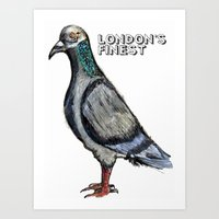 London's Finest: The Grey Pigeon Art Print