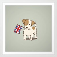 Jack Russell Terrier and Union Jack Illustration Art Print