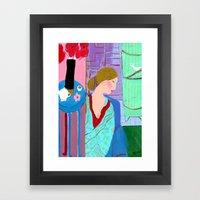 Tha Lady In Blue Framed Art Print