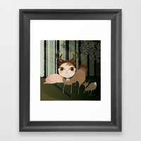 Deery Fairy in the Forest Framed Art Print