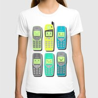 Vintage Cellphone Pattern Womens Fitted Tee White SMALL