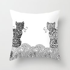 Black Cat White Cat Throw Pillow