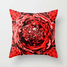Red Swirl Topography Throw Pillow