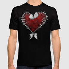 Heart - Fish Mens Fitted Tee Black SMALL