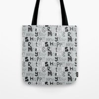 Simple Silver Merry Chri… Tote Bag