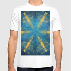 Tribal gold on blue kaleidoscope SMALL White Mens Fitted Tee