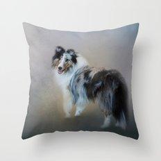 Did You Call Me - Blue Merle Shetland Sheepdog Throw Pillow