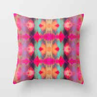 Watercolor Ikat Throw Pillow