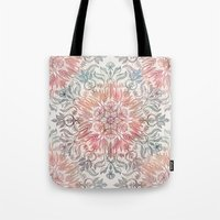 Autumn Spice Mandala in Coral, Cream and Rose Tote Bag