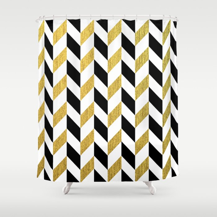 Black And Gold Shower Curtain By Pati Designs
