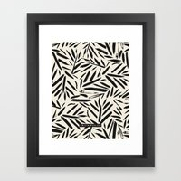 Not So Black and white leaves Framed Art Print