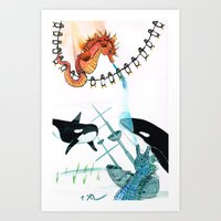 Penguins, whales, seahorses with a Sunken ship Art Print