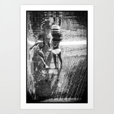 Swimmers Black And White Art Print