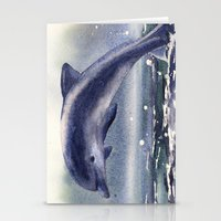DOLPHIN painting, watercolor dolphin art, sea creatures, ocean lover gift, beach house decor, nautic Stationery Cards