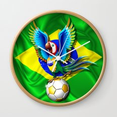 Brazil Macaw Parrot with Soccer Ball Wall Clock