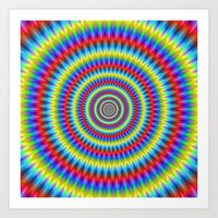 Blue Red Yellow and Green Toothed Rings Art Print
