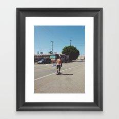 Skateboarder in Los Angeles Framed Art Print