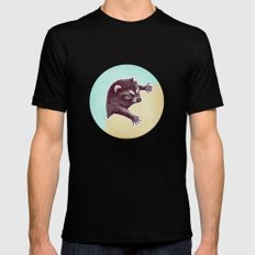 Climbing Raccoon Mens Fitted Tee Black SMALL
