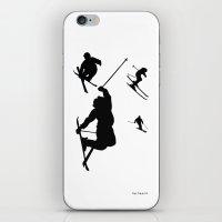 Skiing silhouettes iPhone & iPod Skin