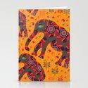 Cute elephants in orange background Stationery Cards