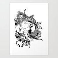 Inking Elephant Art Print